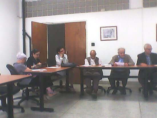 Doctores Maritza Landaeta, Consuelo Ramos (Vicepresidenta), Zury Ana Domínguez (Directora del IME), Dr Jesús González (Vocal), Virgilio Bosch (Presidente saliente), Freddy Contreras (Presidente elegido) y Manuel Velasco (Editor)