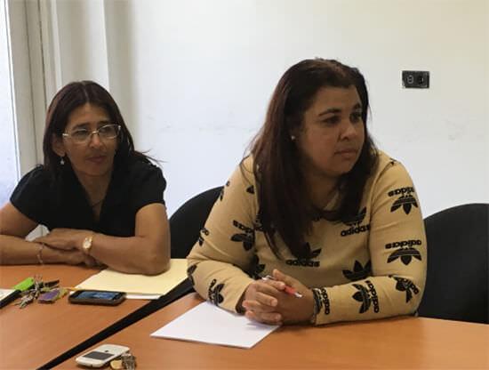 Representantes de la Biblioteca Dr Humberto García Arocha, Secretaria Ejecutiva Lorens Quintero y Lic Eunice Corredor.